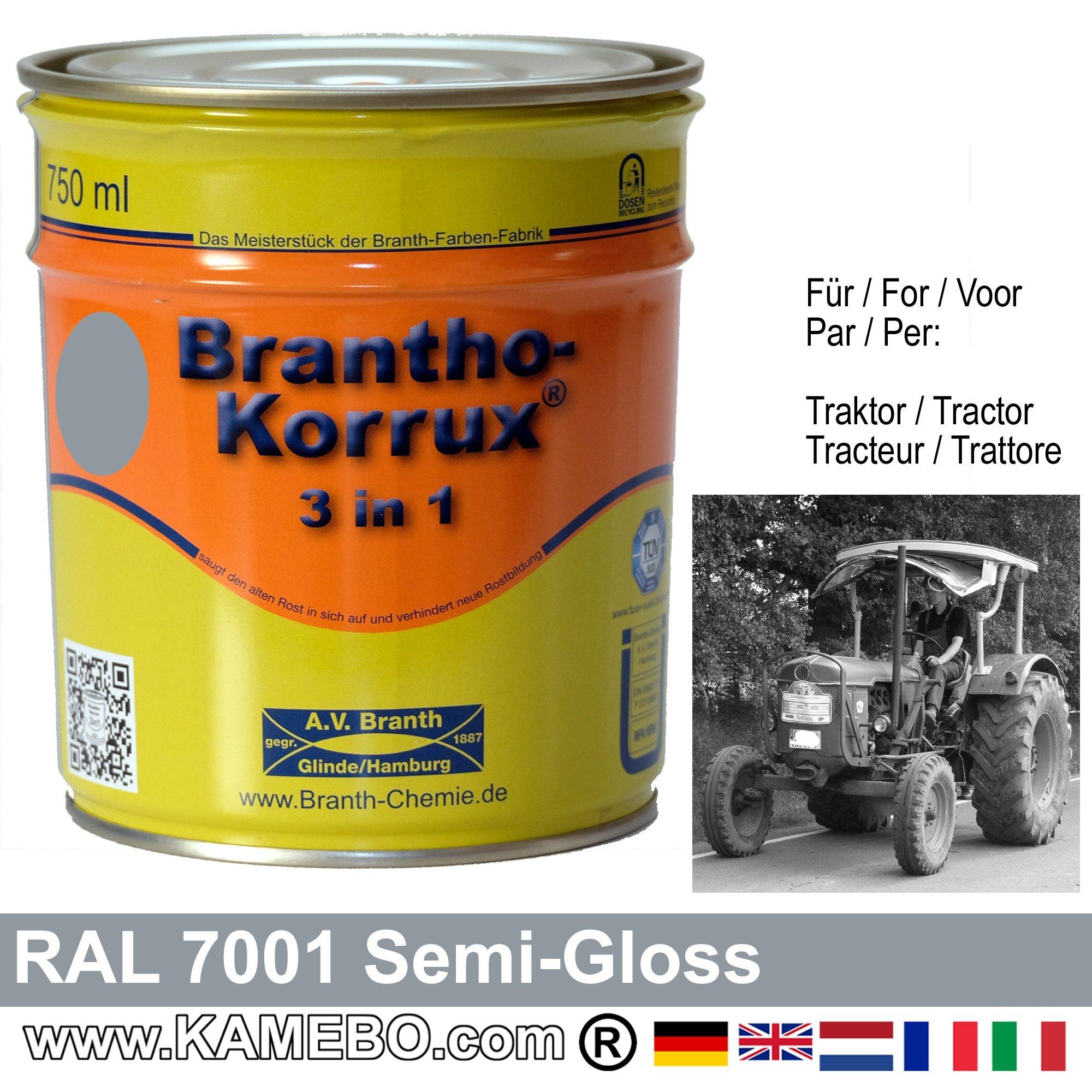 3in1 peinture tracteur satin e brillante ral 7001 gris for Peinture brillante ou satinee