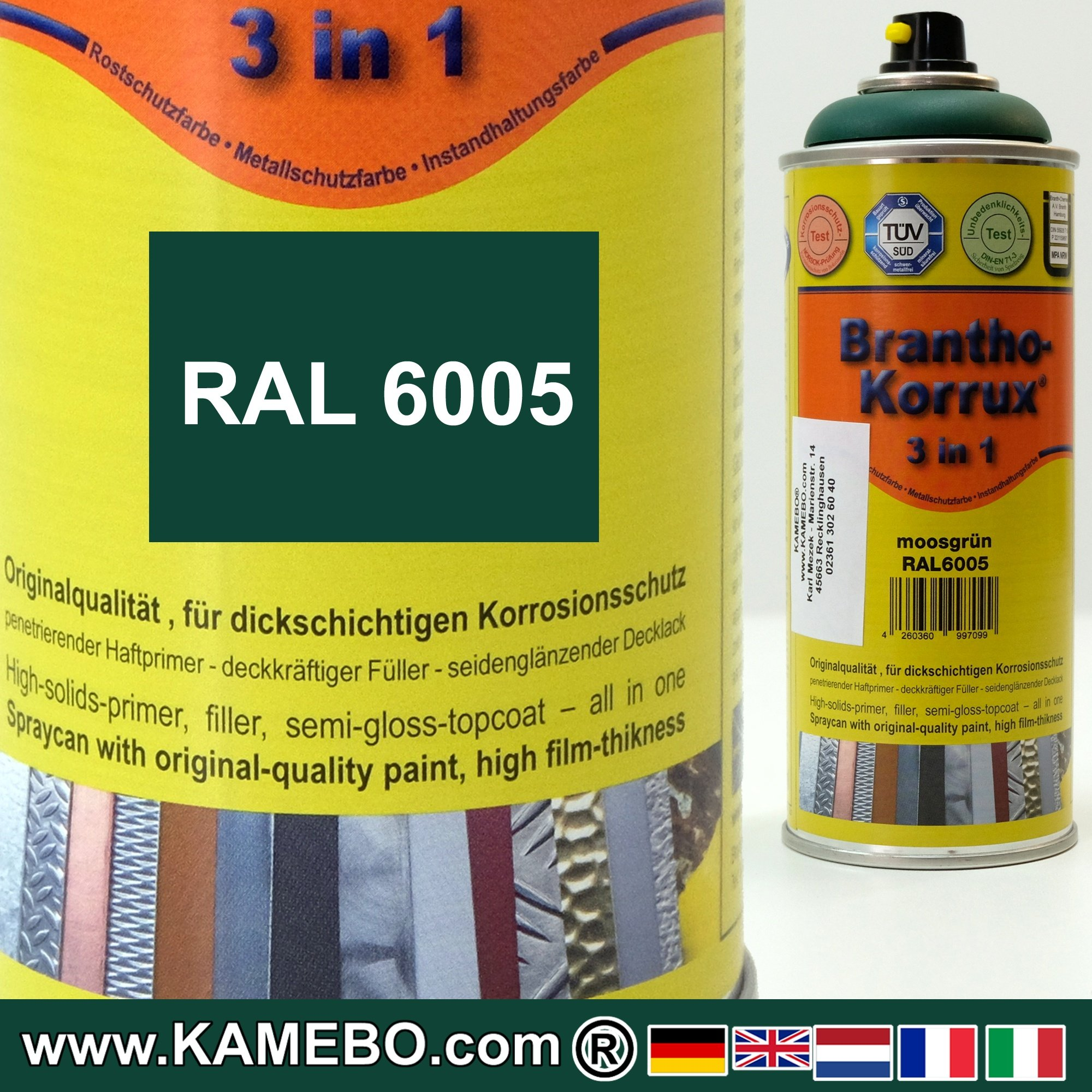 BRANTHO-KORRUX 3in1 Anti-Rust Coating RAL 6005 Spray Moss green 400 ...