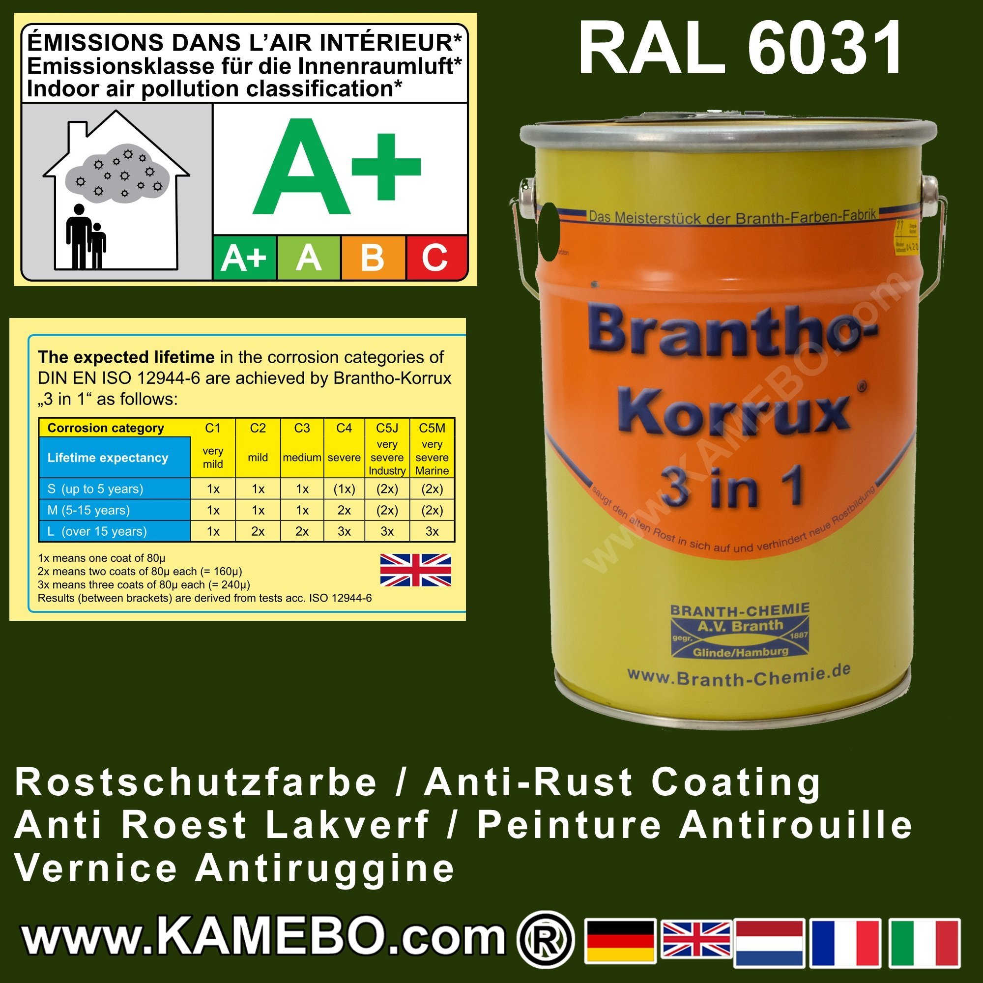 brantho korrux 3 in 1 rostschutzfarbe tarnfarbe ral 6031 bronzegr n 5 liter. Black Bedroom Furniture Sets. Home Design Ideas