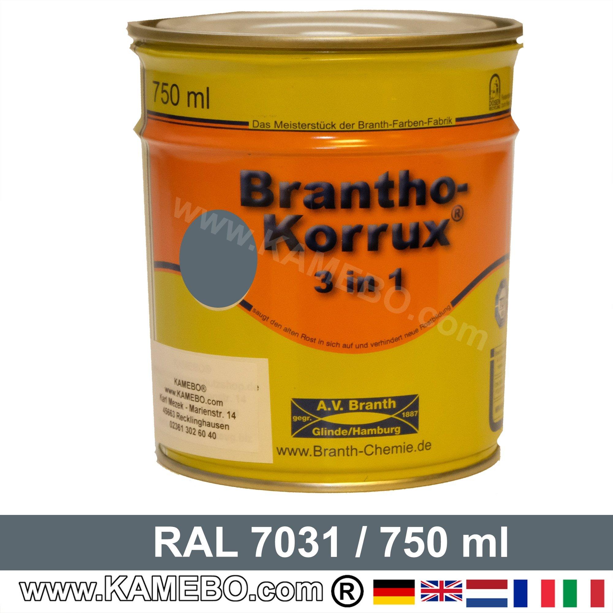 BRANTHO-KORRUX 3in1 Rostschutzlack RAL 7031 Blaugrau 750 Ml