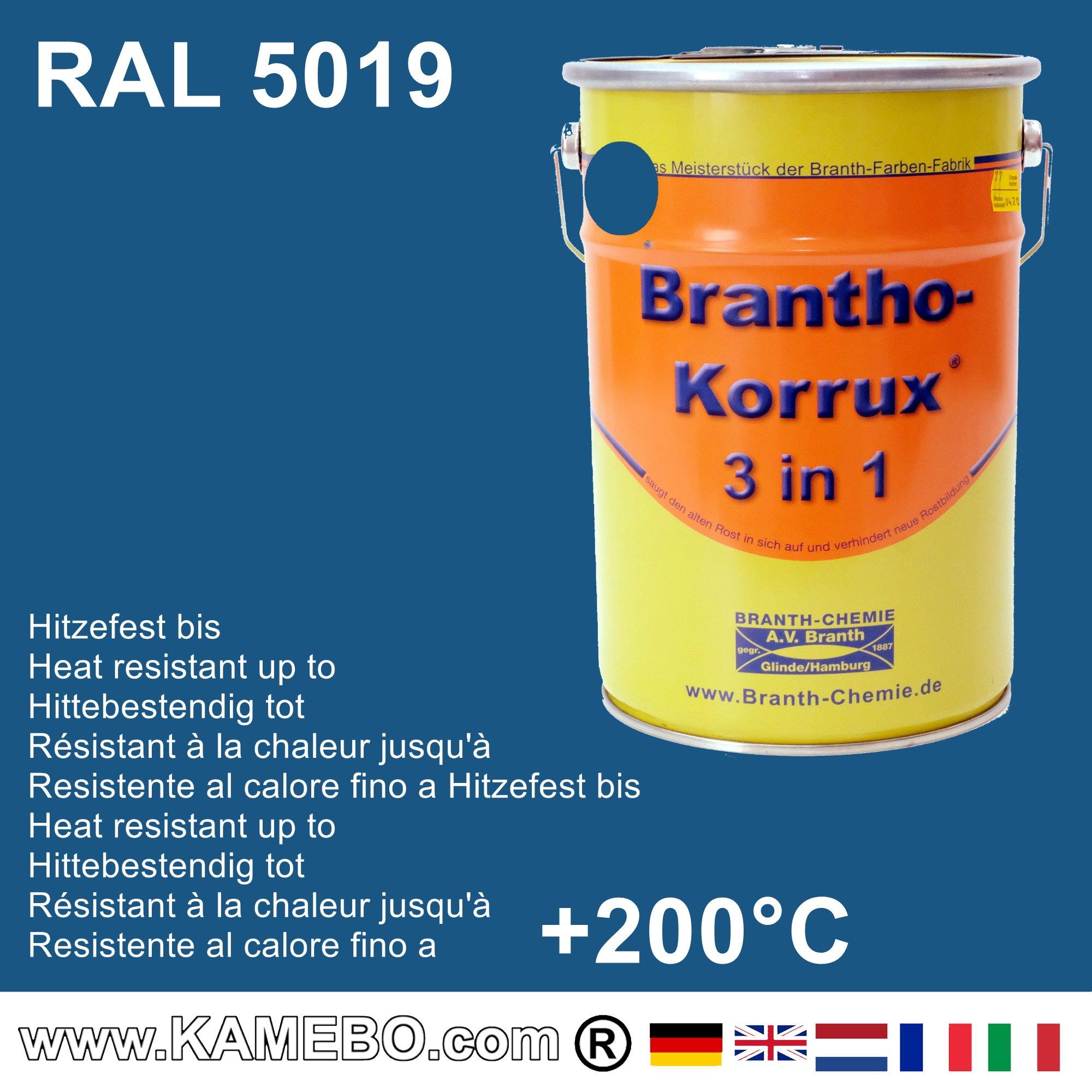 brantho korrux 3 in 1 metallschutzlack korrosionsschutzlack ral 5019 capriblau 5 liter. Black Bedroom Furniture Sets. Home Design Ideas