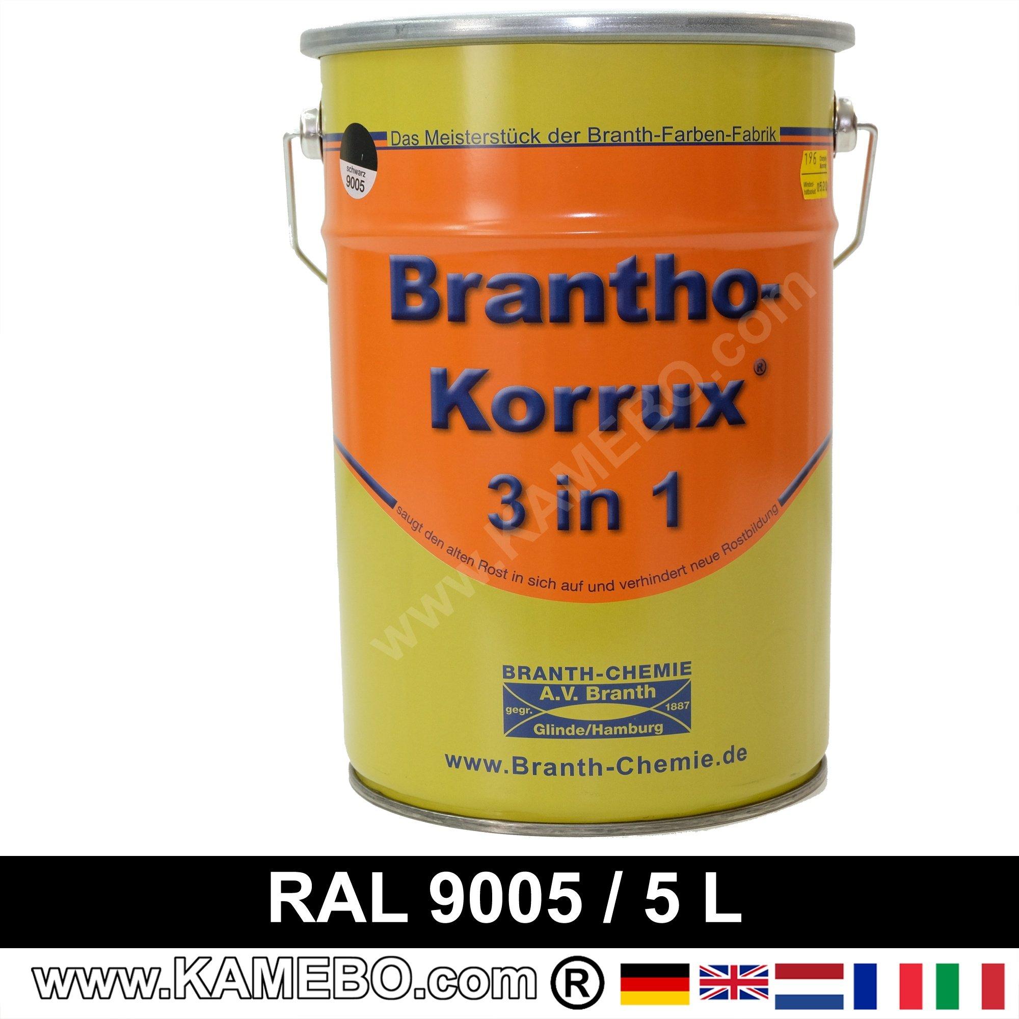 brantho korrux 3in1 anti roest lakverf ral 9005 zwart 5 liters. Black Bedroom Furniture Sets. Home Design Ideas