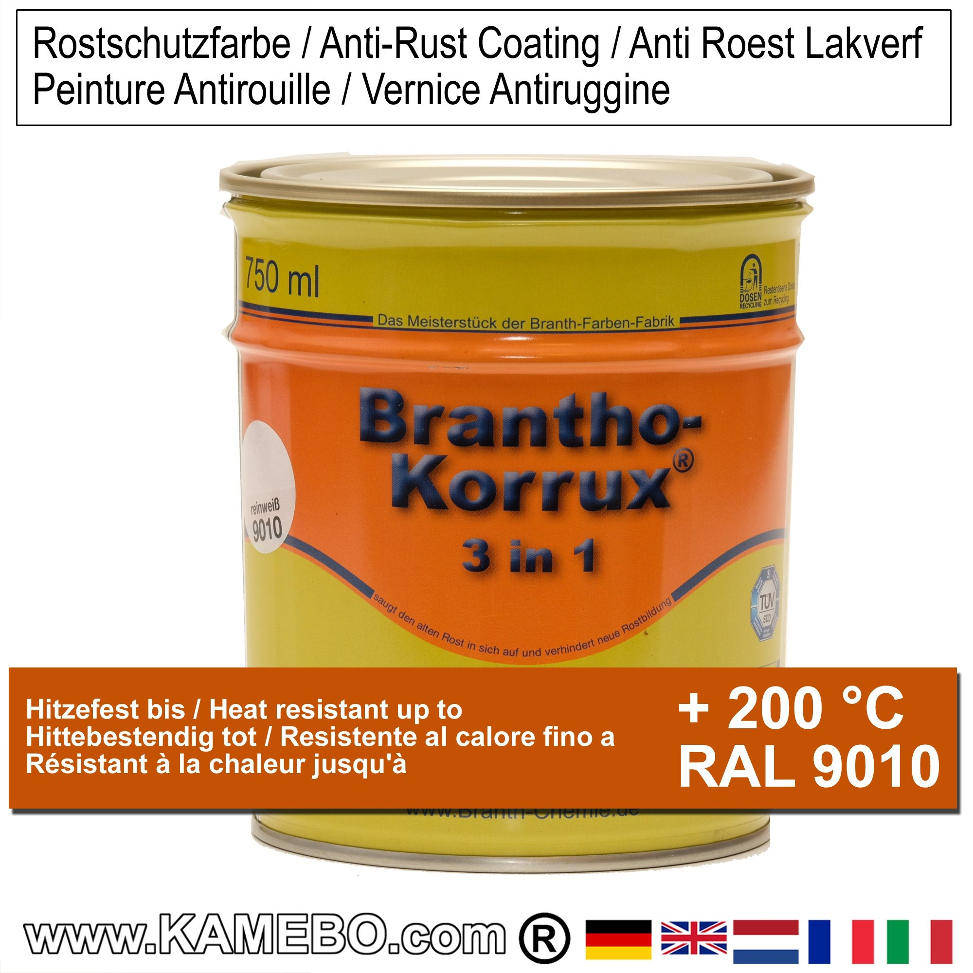 brantho korrux 3in1 rostschutzlack ral 9010 weiss 750 ml. Black Bedroom Furniture Sets. Home Design Ideas
