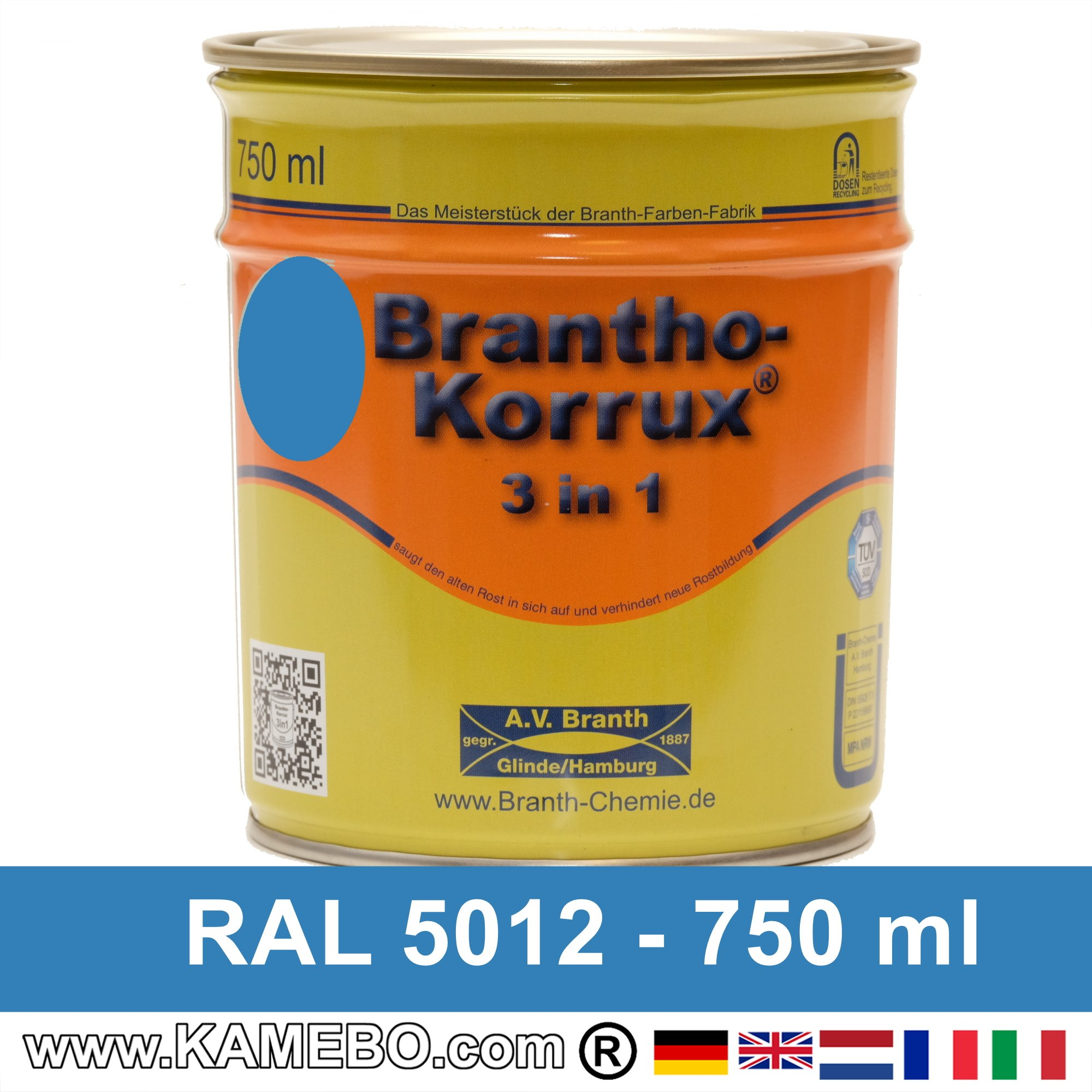 brantho korrux 3in1 rostschutzlack ral 5012 lichtblau 750 ml. Black Bedroom Furniture Sets. Home Design Ideas
