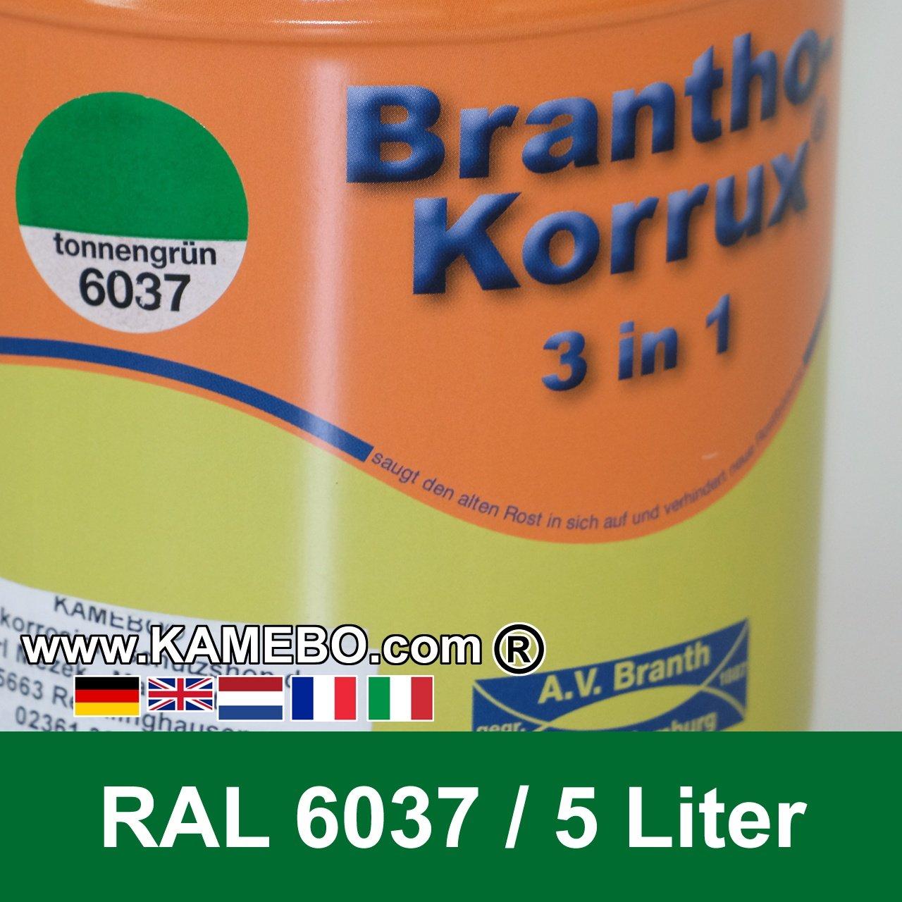brantho korrux 3in1 rostschutzlack ral 6037 tonnengr n 5 liter. Black Bedroom Furniture Sets. Home Design Ideas