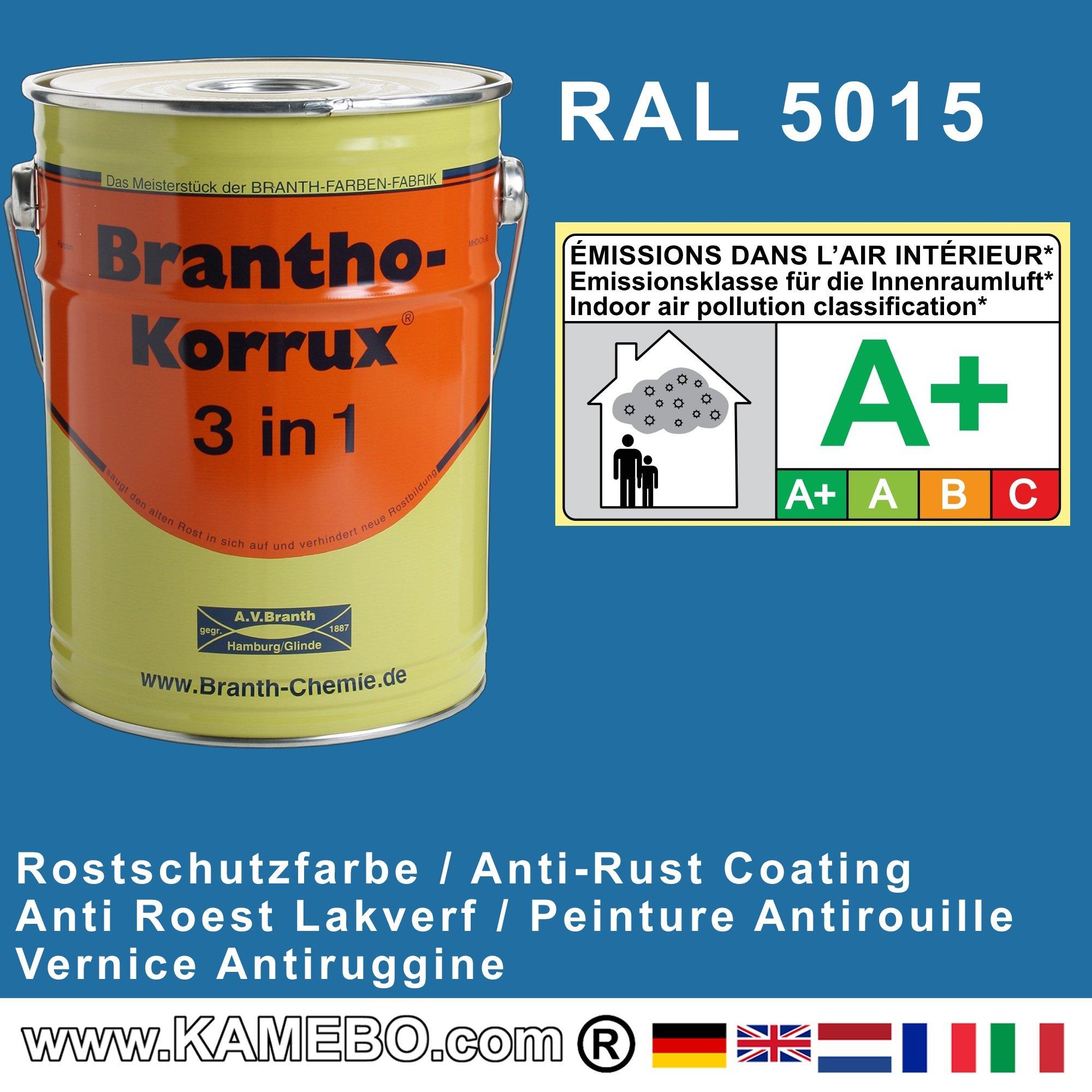 brantho korrux 3in1 peinture antirouille ral 5015 bleu. Black Bedroom Furniture Sets. Home Design Ideas