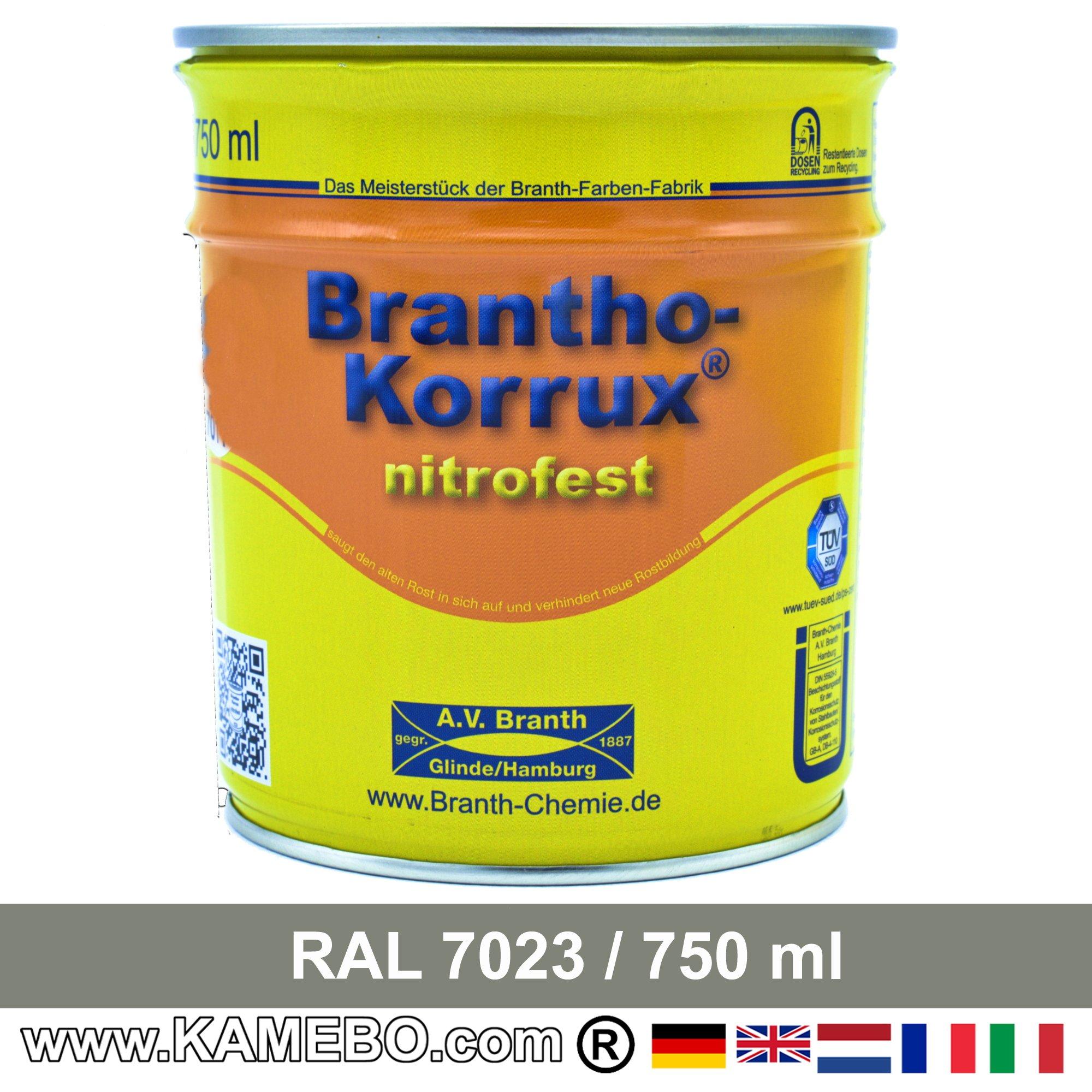 brantho korrux nitrofest korrosionsschutzlack ral 7023 betongrau 750 ml. Black Bedroom Furniture Sets. Home Design Ideas