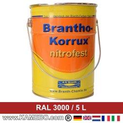 BRANTHO-KORRUX NITROFEST Korrosionsschutzlack RAL 3000 Feuerrot / Siegelrot 5 Liter