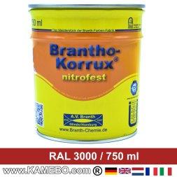 BRANTHO-KORRUX NITROFEST Korrosionsschutzlack RAL 3000 Feuerrot / Siegelrot 750 ml