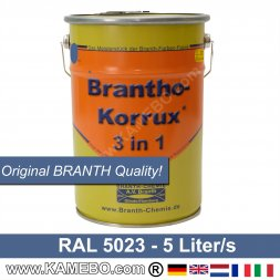 BRANTHO-KORRUX 3 in 1 Metallschutzlack / Korrosionsschutzlack RAL 5023 Fernblau 5 Liter