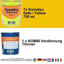 BRANTHO-KORRUX 3in1 Komatsu Gelb Baumaschinen Kit 2