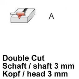 CP Fräser Double Cut Zylinderform ohne Stirnverzahnung Ø 3 / 3 mm