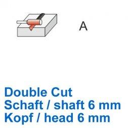 CP Fräser Double Cut Zylinderform ohne Stirnverzahnung Ø 6 / 6 mm