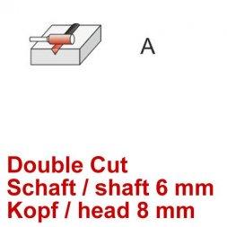 CP Fräser Double Cut Zylinderform ohne Stirnverzahnung Ø 6 / 8 mm