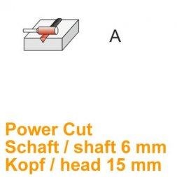 CP Fräser Power Cut Zylinderform ohne Stirnverzahnung Ø 6 / 15 mm