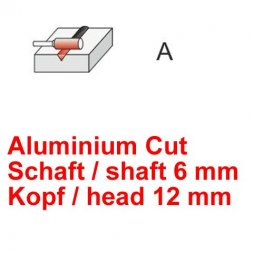 CP Fräser Aluminium Cut Zylinderform ohne Stirnverzahnung Ø 6 / 12 mm
