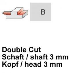 CP Fräser Double Cut Zylinderform mit Stirnverzahnung Ø 3 / 3 mm