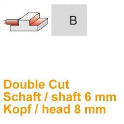 CP Fräser Double Cut Zylinderform mit Stirnverzahnung Ø 6 / 8 mm