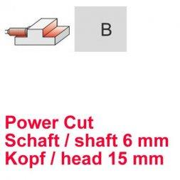 CP Fräser Power Cut Zylinderform mit Stirnverzahnung Ø 6 / 15 mm
