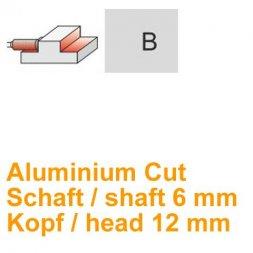 CP Fräser Aluminium Cut Zylinderform mit Stirnverzahnung Ø 6 / 12 mm