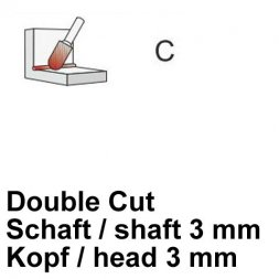 CP Fräser Double Cut Walzenrundform Ø 3 / 3 mm