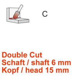 CP Fräser Double Cut Walzenrundform Ø 6 / 15 mm