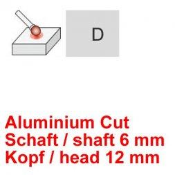 CP Aluminium Cut Fräser Kugelform Ø 6 / 12 mm