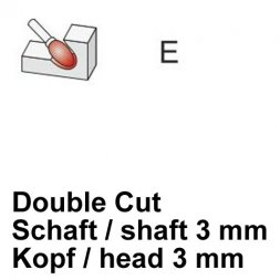 CP Double Cut Fräser Tropfenform / oval Ø 3 / 3 mm