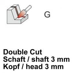 CP Double Cut Fräser Spitzbogenform Ø 3 / 3 mm