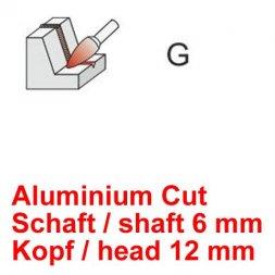 CP Aluminium Cut Fräser Spitzbogenform Ø 6 / 12 mm