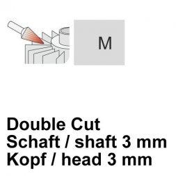 CP Double Cut Fräser Spitzkegelform Ø 3 / 3 mm
