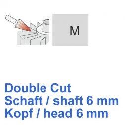 CP Double Cut Fräser Spitzkegelform Ø 6 / 6 mm