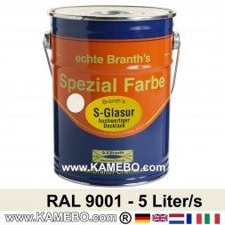 BRANTH's S-GLASUR Metall Schutzlack Hochglänzend RAL 9001 Cremeweiß 5 Liter