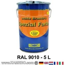 BRANTH's S-GLASUR Metall Schutzlack Hochglänzend RAL 9010 Weiss / Reinweiss 5 Liter