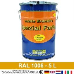 BRANTH's S-GLASUR Metall Schutzlack Hochglänzend RAL 1006 Maisgelb / Gelb 5 Liter