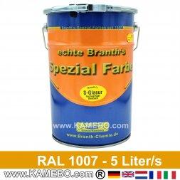 BRANTH's S-GLASUR Metall Schutzlack Hochglänzend RAL 1007 Narzissengelb / Gelb 5 Liter