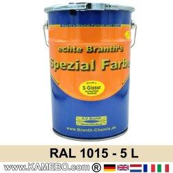 BRANTH's S-GLASUR Metall Schutzlack Hochglänzend RAL 1015 Hellelfenbein 5 Liter
