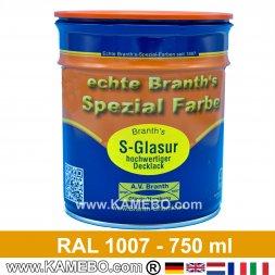 BRANTH's S-GLASUR Metall Schutzlack Hochglänzend RAL 1007 Narzissengelb / Gelb 750 ml