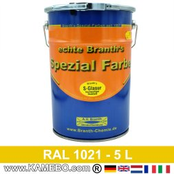 BRANTH's S-GLASUR High Gloss Finish Paint for Metal RAL 1021 Rape yellow 5 Liters