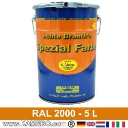BRANTH's S-GLASUR Metall Schutzlack Hochglänzend RAL 2000 Gelborange / Orange 5 Liter