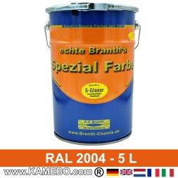 BRANTH's S-GLASUR Metall Schutzlack Hochglänzend RAL 2004 Reinorange / Orange 5 Liter
