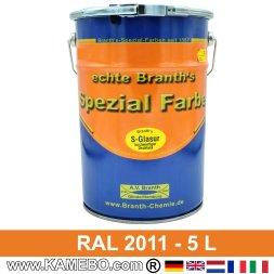BRANTH's S-GLASUR Metall Schutzlack Hochglänzend RAL 2011 Tieforange / Orange 5 Liter