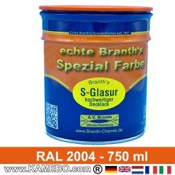BRANTH's S-GLASUR Metall Schutzlack Hochglänzend RAL 2004 Reinorange / Orange 750 ml