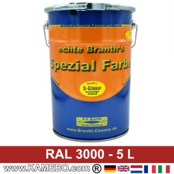 BRANTH's S-GLASUR Metall Schutzlack Hochglänzend RAL 3000 Feuerrot / Siegelrot / Rot 5 Liter
