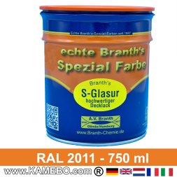 BRANTH's S-GLASUR Metall Schutzlack Hochglänzend RAL 2011 Tieforange / Orange 750 ml