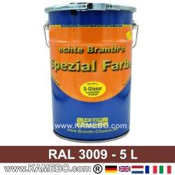 BRANTH's S-GLASUR Metall Schutzlack Hochglänzend RAL 3009 Oxidrot / Rotbraun 5 Liter