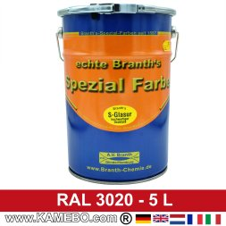 BRANTH's S-GLASUR Metall Schutzlack Hochglänzend RAL 3020 Verkehrsrot / Rot 5 Liter