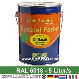 BRANTH's S-GLASUR Metall Schutzlack Hochglänzend RAL 6018 Gelbgrün / Grün 5 Liter