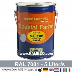 BRANTH's S-GLASUR Metall Schutzlack Hochglänzend RAL 7001 Silbergrau / Grau 5 Liter