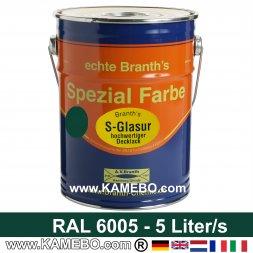 BRANTH's S-GLASUR Metall Schutzlack Hochglänzend RAL 6005 Moosgrün / Grün 5 Liter